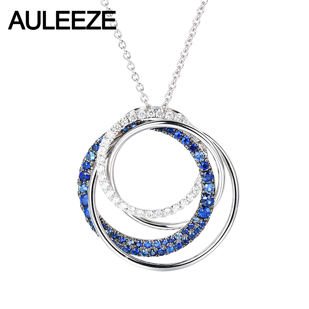 AULEEZE Circle Stacking 18K White Gold Diamond Pendant Natural Sapphire Necklace Weater Chain Ladies Gemstone Jewelry