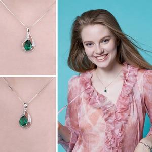 Image 4 - Jpalace 3ct Simulated Nano Emerald Pendant Necklace 925 Sterling Silver Gemstones Choker Statement Necklace Women No Chain