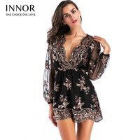 Deep v sequin playsuit women Tassel short mesh bodysuit summer beach club elegant jumpsuit rompers embroidery leotard innor #195