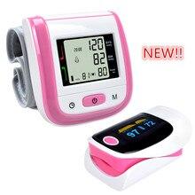 Cuidado de la salud Rosa LCD Digital de Muñeca Monitor de Presión Arterial Oximetro Tonómetro + CE FDA Del Dedo Oxímetro de Pulso Rosa Ajuste de la Alarma