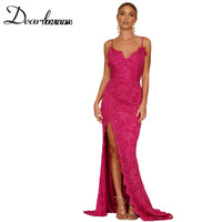 Dear Lovers New Sexy Women Evening Dress Spaghetti Strap Rosy Lace Bridal Wedding Party Gown Hollow