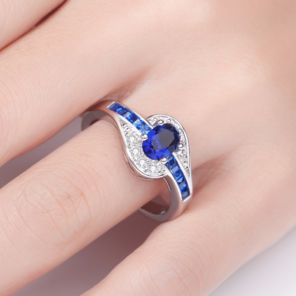 STUNNING THIN BLUE LINE OVAL WOMEN'S RING 6