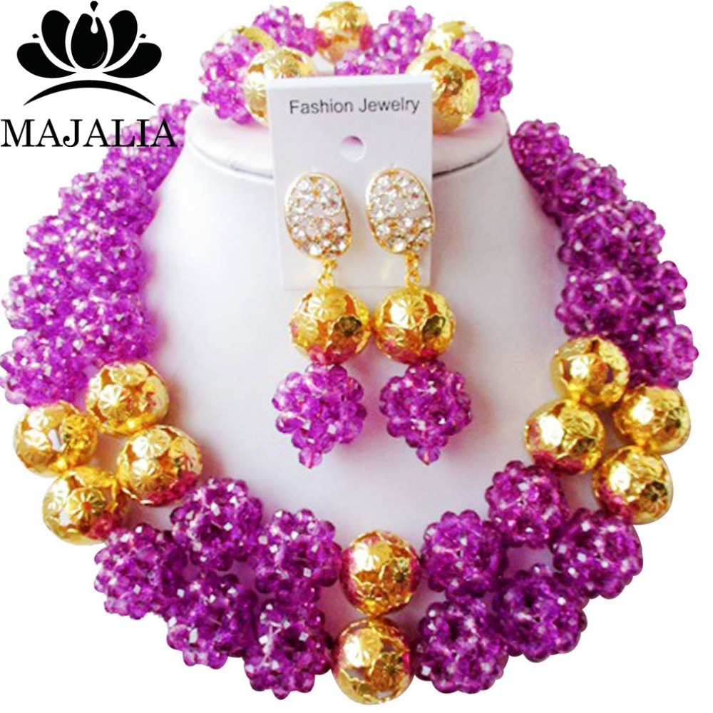 Majalia Classic Nigerian Wedding African Jewelry Set Purple Crystal Bead Necklace Bride Jewelry Sets Free Shipping 2JS035Majalia Classic Nigerian Wedding African Jewelry Set Purple Crystal Bead Necklace Bride Jewelry Sets Free Shipping 2JS035