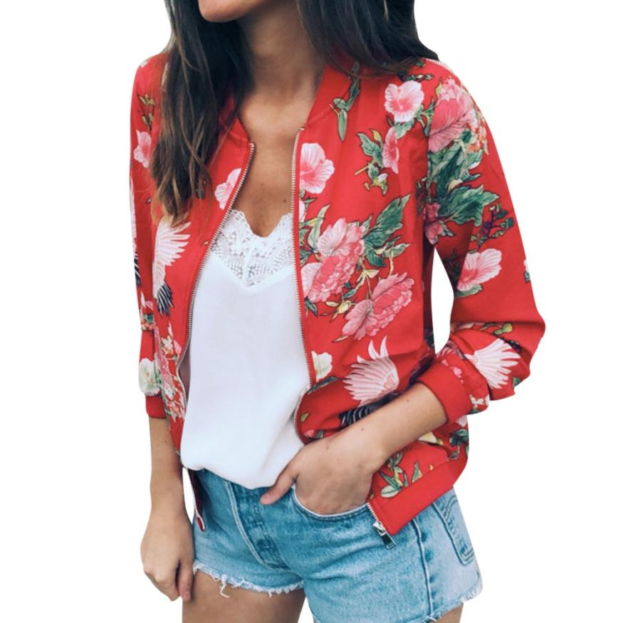 Outerwear & Coats Jackets Womens Ladies Retro Floral Zipper Up Bomber Outwear Casual coats and jackets women 18AUG10 13