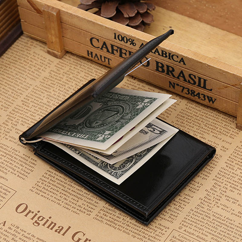 Ny Brand Luxury Business Man pengar klipp plånbok med metall klämma - Plånböcker - Foto 4
