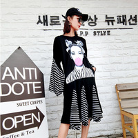Autumn Clothing Pattern Tide Brand Personality Hit Color Split Joint Dress Long Fund Horn Sleeve Easy