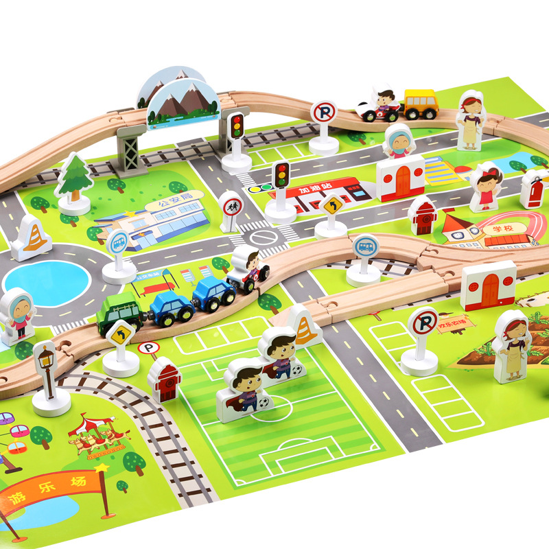 Childrens Intelligence Railway Track Assembled Toys Urban Track Traffic Scene Suit Wooden Building Blocks Kids Education Gift