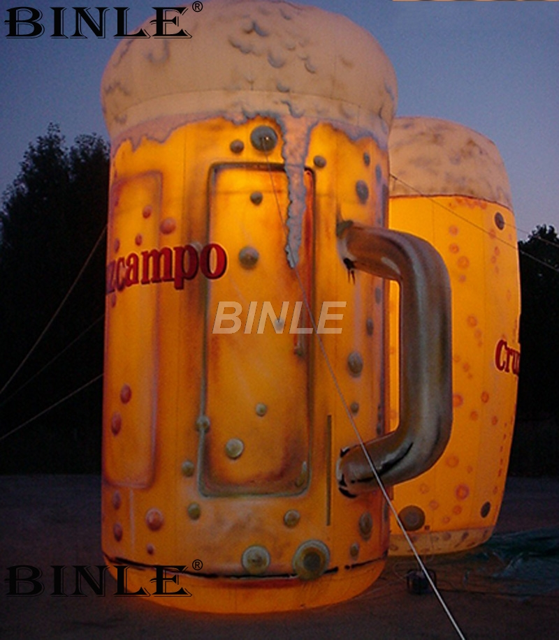Custom made giant inflatable beer bottle led glass beer mug air balloon inflatable for advertising цена