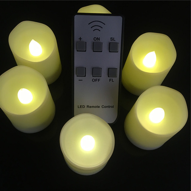 Set Of 12 Warm White Led Tea Lights With Remote Control Battery Ed Candles Both Flicker And Not Light