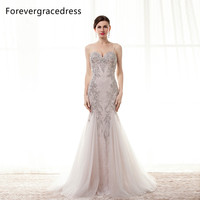 Forevergracedress Real Pictures Prom Hot Koop Nieuwe Spaghetti Lange Kralen Crystal Tulle Formele Party Gown Plus Size