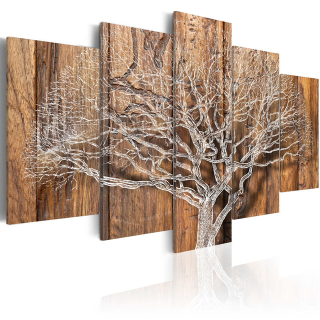 5 pieces hd canvas painting wall art wood background branches