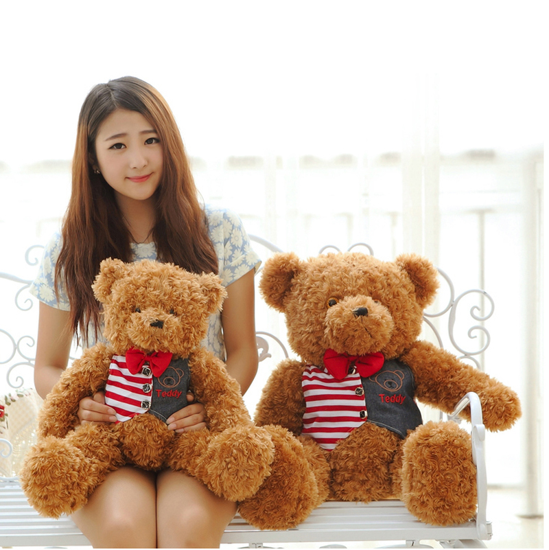 Hanhanho 80cm Large Teddy Bear Plush Doll Stuffed Soft Toy Cute Huge Brown Bear Wear A Kids Toys Birthday Gift for Childrens
