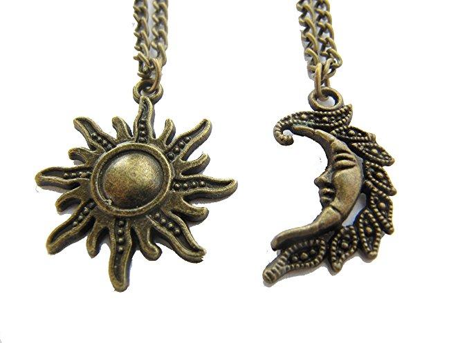collier lune et soleil couple