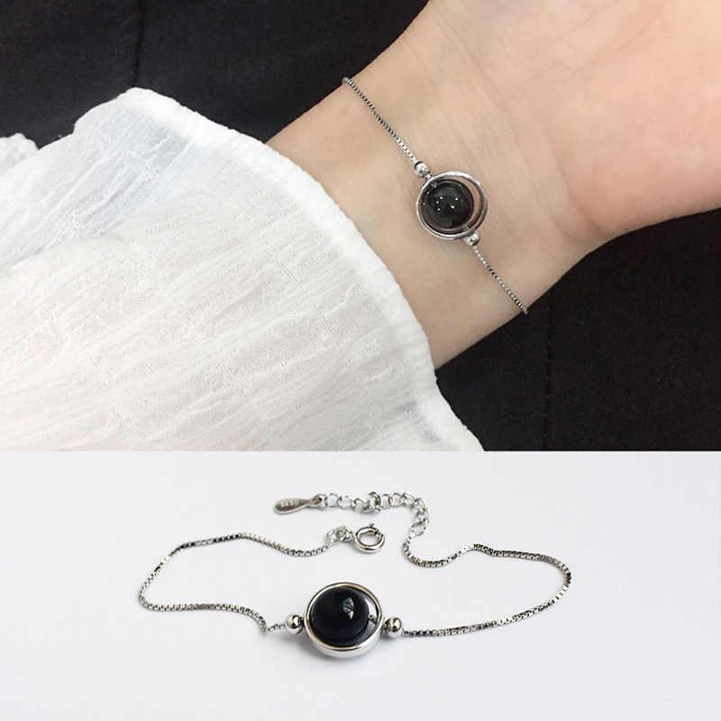 พจนานุกรม MaxZa แฟชั่นเครื่องประดับสตรีอุปกรณ์เสริมสีดำลูกปัดกล่องสร้อยข้อมือผู้หญิง 925 เงินสเตอร์ลิงสร้อยข้อมือ Trendy