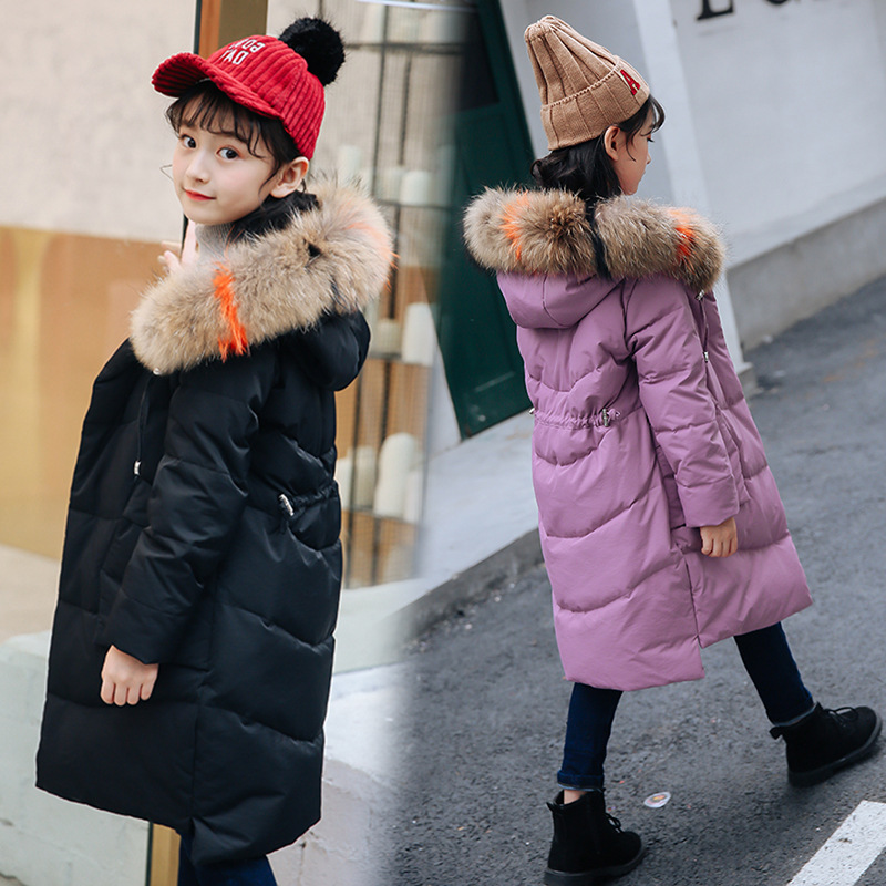 Girls Hooded Kids Winter Down Jackets Fur Collar Thick Long Coat Baby Girl Clothes 2018 Fashion Children Snowsuit Zipper Coats fashion girls winter down coat teenagers long down thick warm coat parkas fur collar hooded jackets clothing children snowsuit