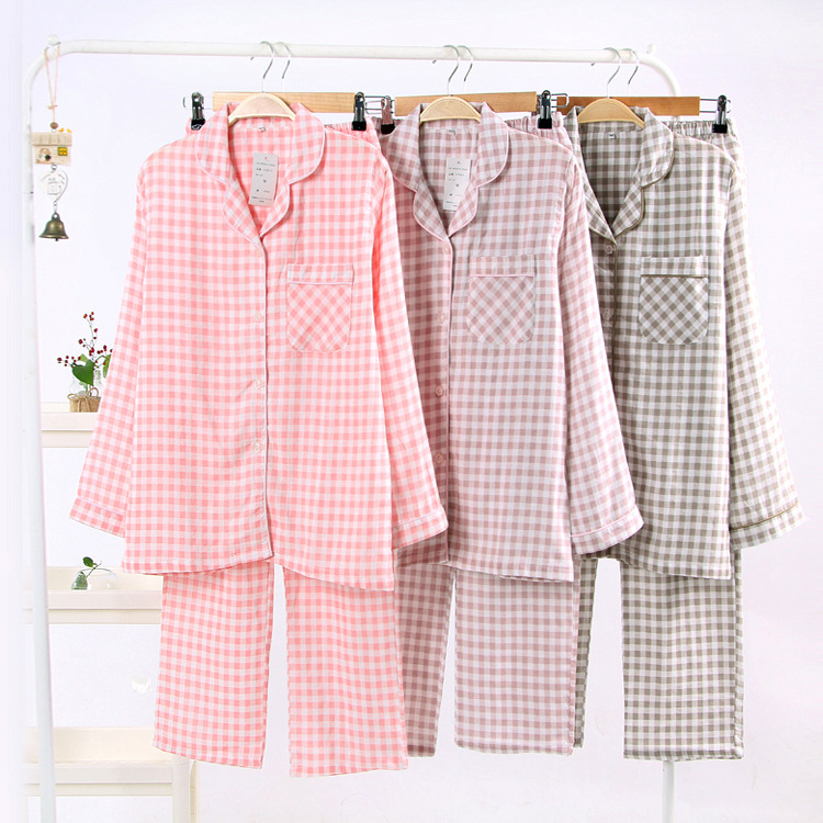 Couple Pajama Set Cotton Pajamas For Women Plaid Home Clothing Turn-down Collar Lover Woman Man Matching Pyjama Lovers' Clothes