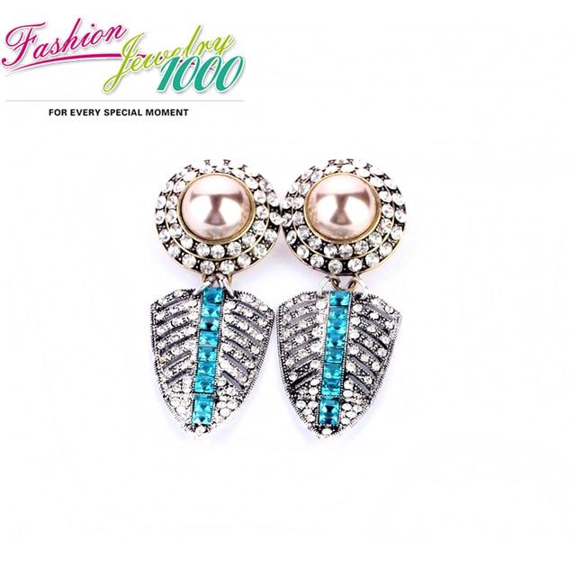 New Design Retro Blue Crystal Leaf Drop Earrings Fashion Rhinestone Vintage Jewelry For Women Free Shipping