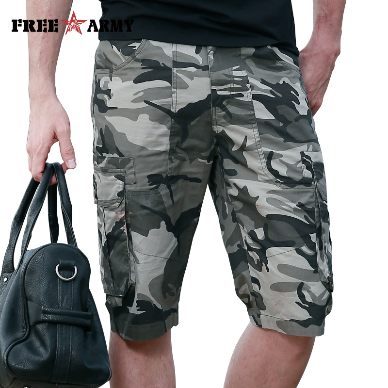 FreeArmy Mens Shorts With Pockets Military Cargo Shorts Summer Casual Cotton Shorts Men Knee Length Camouflage Short Pants Male