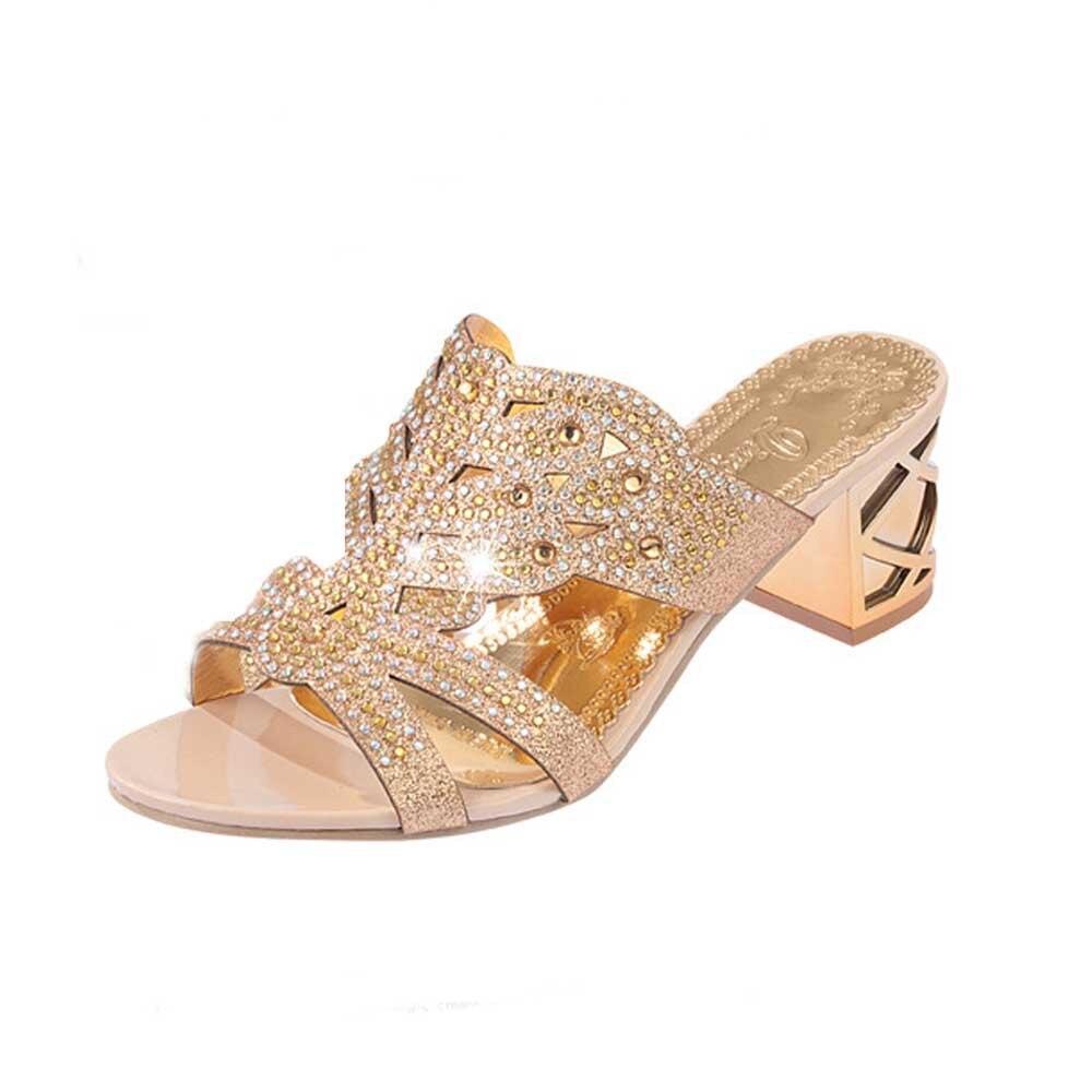 HTB1KdlegbArBKNjSZFLq6A dVXai SAGACE 2018 Summer Open Toe Chunky Heels Women Sandals Leather Rhinestones Party Shoes Girls Crystals Casual Beach Flip Flops