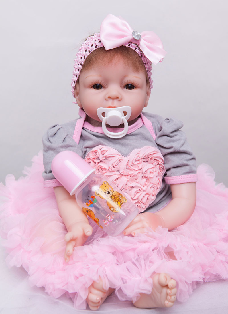 все цены на 55cm Silicone Reborn Baby Doll Toy Cloth Body Babies Doll Lifelike Birthday Gifts Christmas Present Play House Toy Girls Brinque