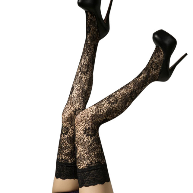 ca381d482 New Women Sexy Fishnet Stockings Sheer Lace Tops Thigh High Stockings  Hosiery Nets Sexy lace print stockings