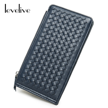 LEVELIVE Fashion Ladies Weave PU Leather Zipper Wallet Women Purse with Card Holder Female Wallet Phone Pocket Carteira Feminina