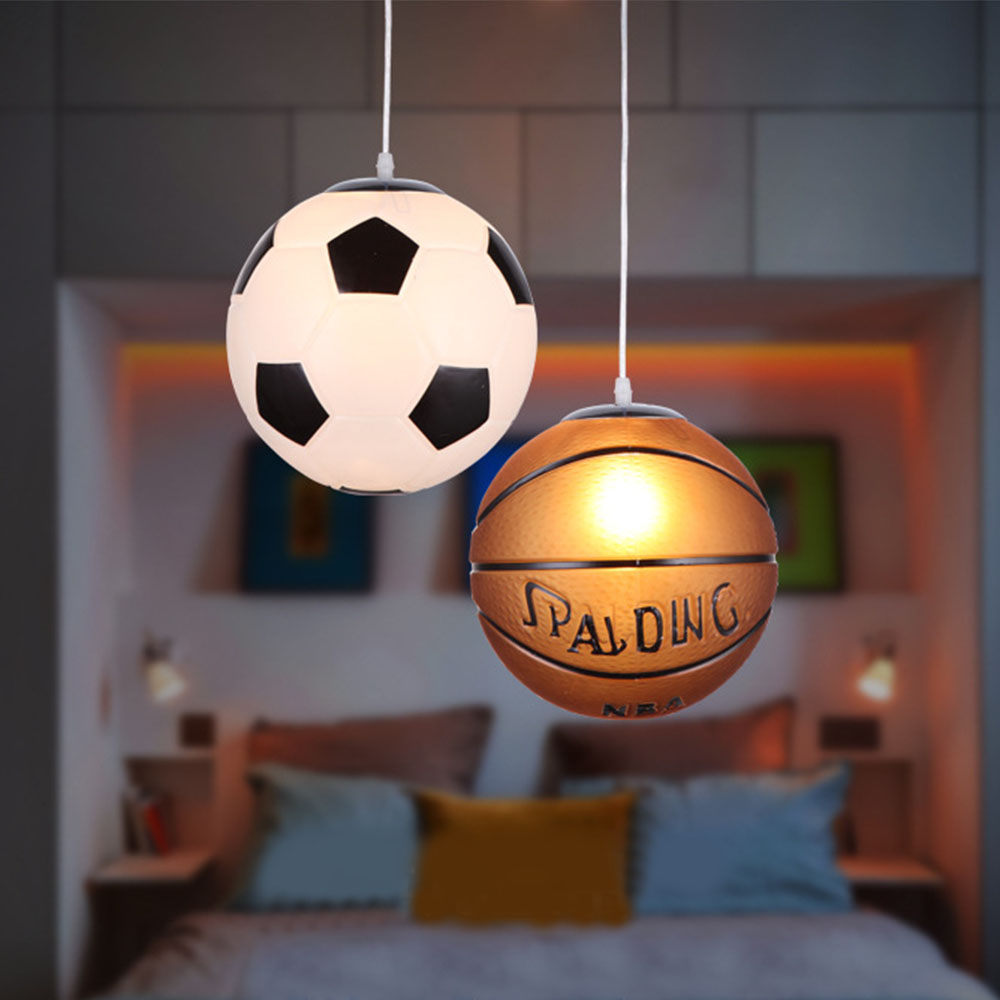 Creative Children Bedroom Lights Balcony Basketball Football Pendant Light LED Lamp Drop Lamp Bedroom Dining Lampshade For Home