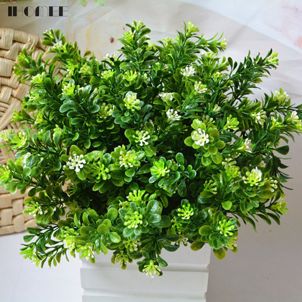 Simulation 7 Forks Milan Grass Plants Plastic Artificial Flowers Home Wedding Decorations Drop Shipping