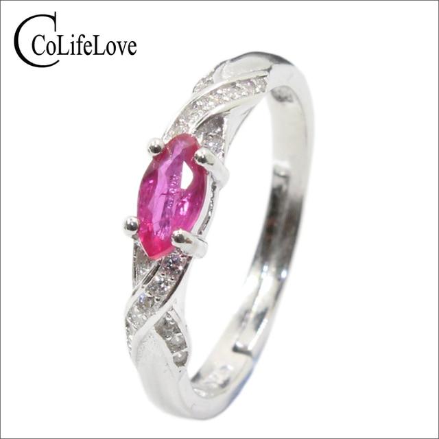 Elegant silver ruby for girl 3 mm * 6 mm natural Myanmar ruby ring 925 sterling