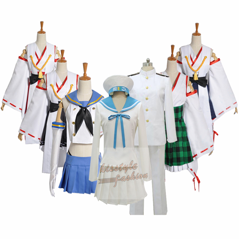 Kantai Collection Kaga Cosplay Costume White and Blue Kimono Free Shipping