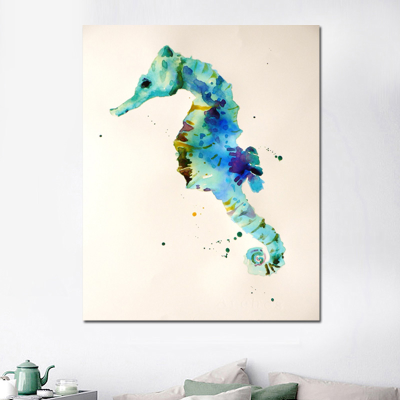 Seahorse Watercolor Canvas Painting Prints Bedroom Home Decoration Animal Print Modern Wall Art Oil Posters Pictures