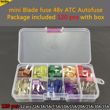boxed 120 PCS 10mm 48V ATC Autofuse 2A/3A/5A/7.5A/10A/15A/20A/25A/30A/35A mini Blade Fuse for Auto Car Truck Fuse