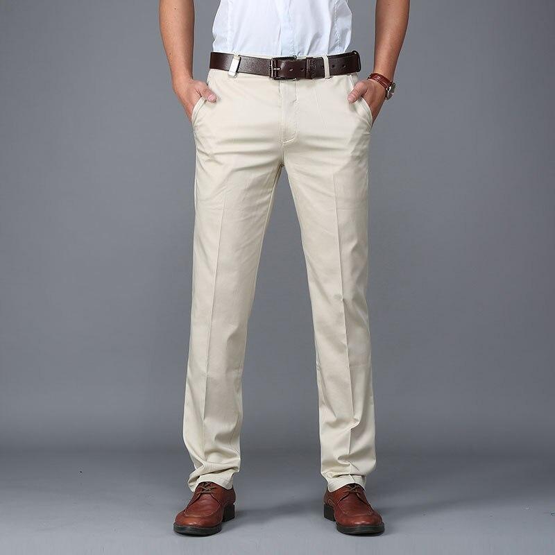 Men Pants Casual Classic Summer Thin Men Social Pants Cotton Straight Trousers Pantalon Homme Plus Size Khaki Pants Men Black
