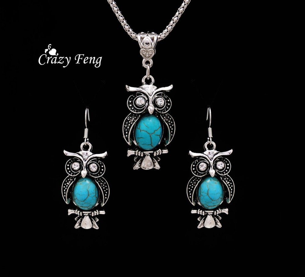 jewellery women in item turquoise from pendant silver drop necklace jewelry online tibetan owl for stone shipping retro earrings design sets set new free