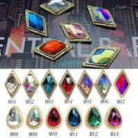 9x15mm Raute/Wasser tropfen Legierung metall Nagel Strass Edelsteine Kristalle/AB Diamant Gold Unten Flache zurück Strass Stein 3D Nägel