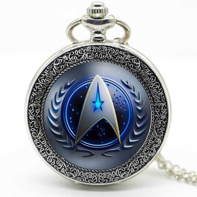 Bronze/Silver Mystery Star Trek Digital Quartz Pocket Watch Pendant Necklace Chain Gift For Men And Women