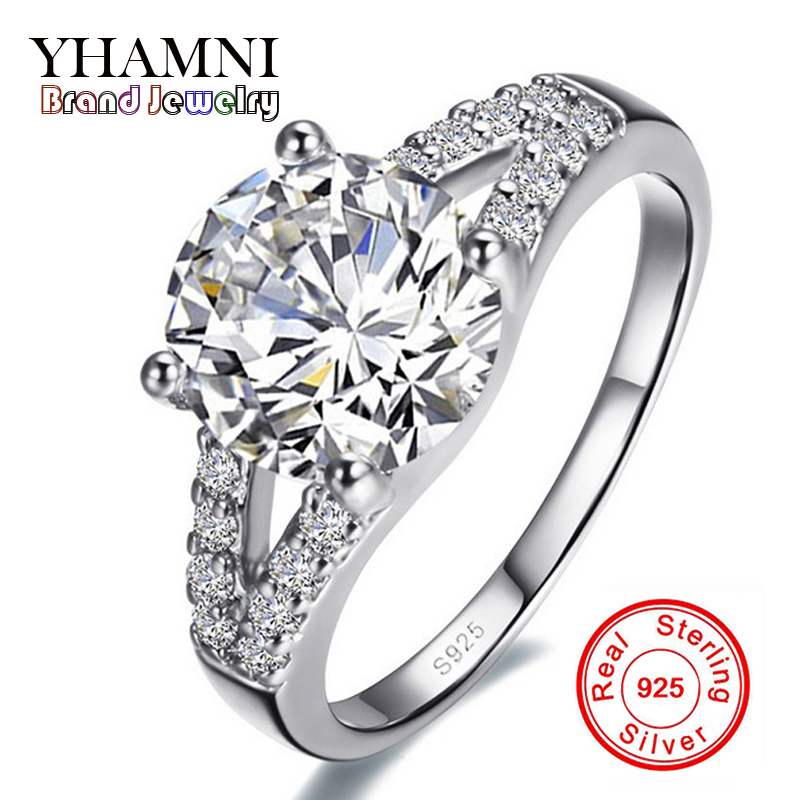 Real Solid Silver Wedding Rings For Women Inlay Sona 2 Carat CZ Diamant Engagement Ring 925 Sterling Silver Fine Jewelry YH128 big promotion 100% original 925 silver wedding rings for women natural solitaire 6mm cz diamant engagement rings jewelry rj003