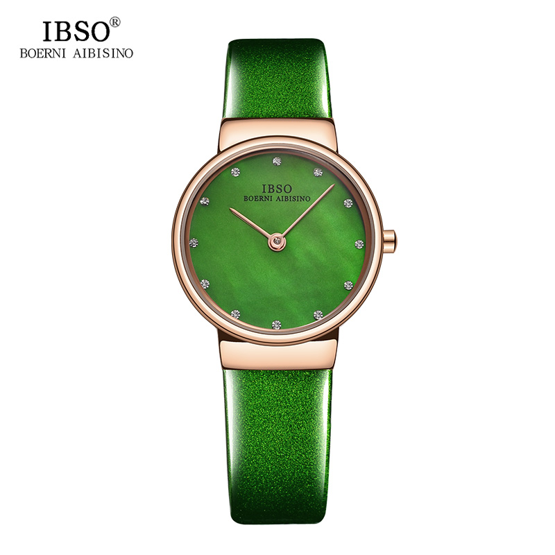 IBSO Brand Green Women Watches 2018 Fashion Refined 7MM Ultra-Thin Ladies Watch Luxury Elegant Montre Femme Quartz Wristwatch ibso top brand women watches 2017 shell dial genuine leather band watch women casual fashion quartz wristwatches montre femme
