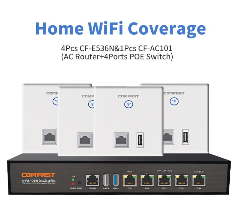 DHL Home Wifi Solution 4 Comfast E536 300Mbps Wall Embedded Wireless WiFi Repeater RJ11/RJ45 AP +1 4 Ports Poe Switch AC Router