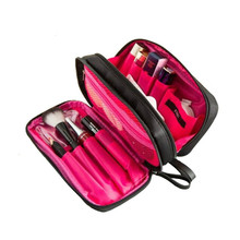 цена на Korean-Style Elegant Black Nylon Fabric Double Zip Cosmetic Bag Female Double-Sided Travel Wash Storgage Bag