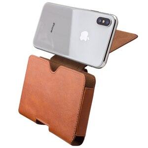Image 4 - QIALINO mode affaires Style téléphone sac couverture pour Apple pour iPhone X luxe en cuir véritable Simple étui pour iPhone 5.8
