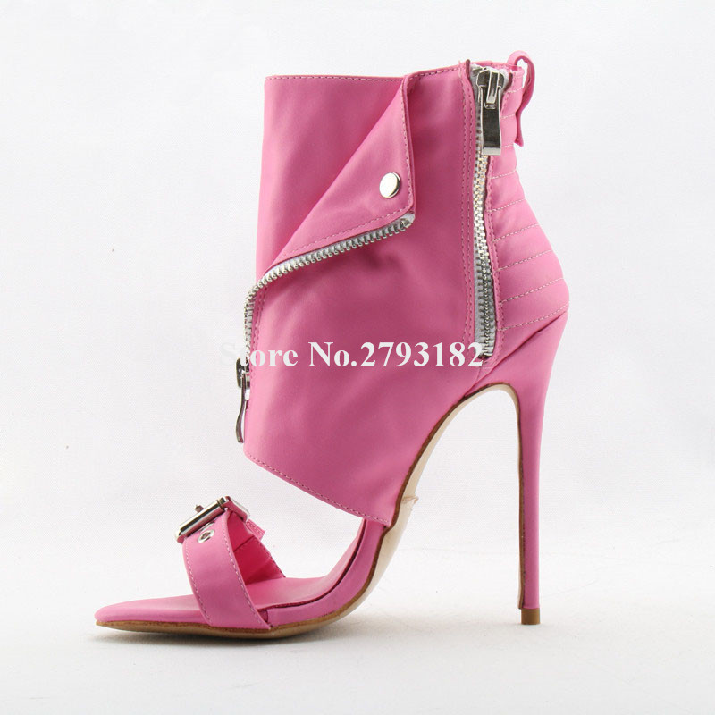 Women Fashion Open Toe Pink Red Gold Leather Zipper-up Thin Heel Gladiator Sandals Ankle Wrap Buckle High Heel Sandals army green gold buckle side zipper high heel ankle boots women open toe fashion gladiator sandal boot womans