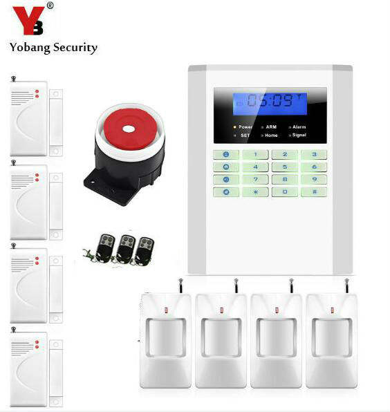 Yobang Security Wireless/Wired GSM/PSTN Home Security Alarm System Working with Wireless Door Sensor PIR Detector yobang security wireless alarm house home security system sms auto dialer gsm alarm system with pir motion sensor smoke detector