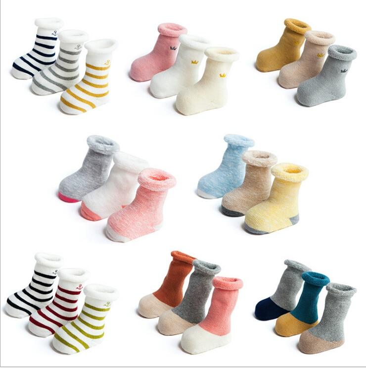 Tukla Babe 3 Pairs/Lot Fall And Winter Baby Terry Socks Thicker Cotton Baby Socks Children Tube Kids Warm Boys Girls Socks
