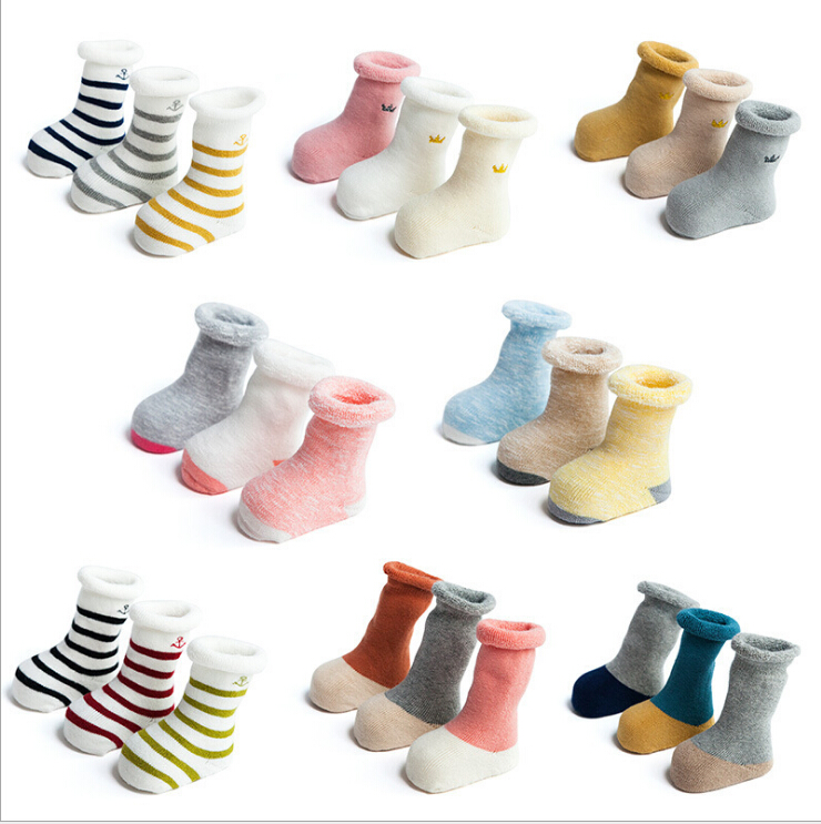 Tukla Babe 3 Pairs/Lot 2017 Fall and winter baby terry socks thicker cotton baby socks children tube kids warm boys girls socks детский костюм chile and us babe d5892 2015