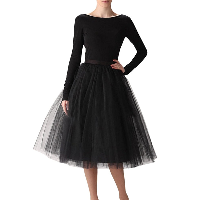 5 Layered Tulle Skirt Women Swing Dolly Ball Gown Underskirt Wedding Bride Fluffy Crinoline Pettiskirt 65 Cm