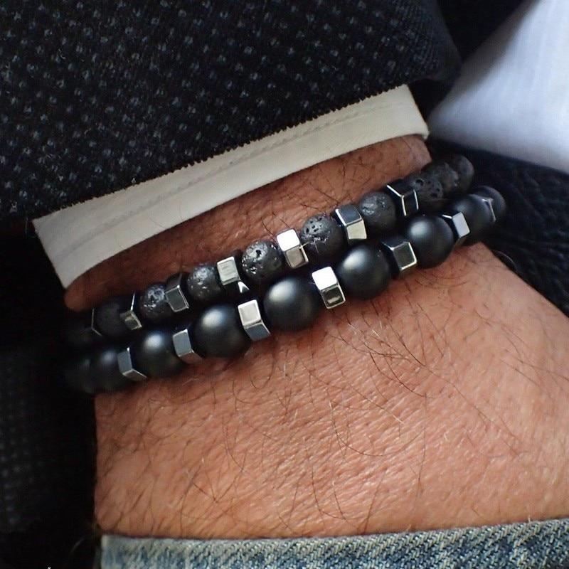 2pcs/set Beaded Bracelet Men 8mm Lava Tiger Eye Stone Bead Charm Men Bracelet Sets Jewelry Gift Pulsera Hombre