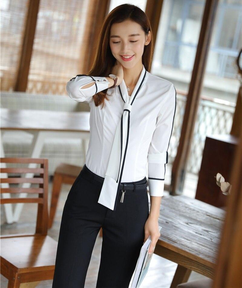 b0d5e823af5b Stili Donna Camicette Moda Mutanda Vestiti Pantalone 2 D affari Ufficio  Imposta Pezzo Tailleur E Top Uniformi Bianco Con BZTwHxxq
