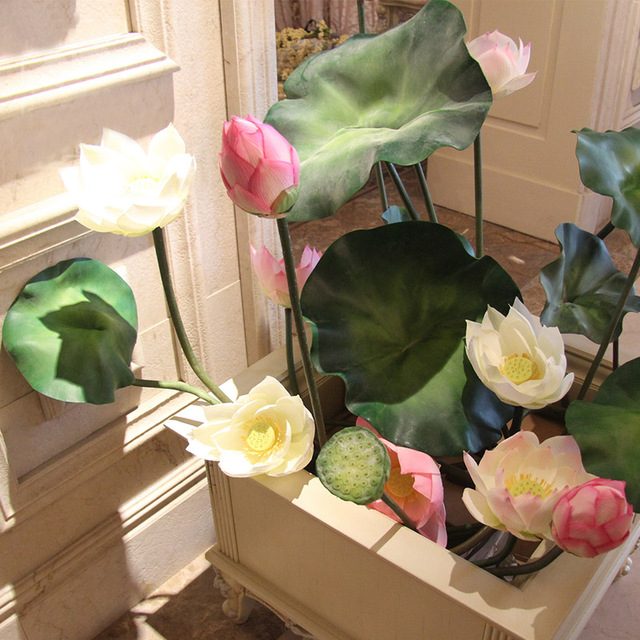 95cm length 23cm diameter artificial lotus flower with long stem 95cm length 23cm diameter artificial lotus flower with long stem fake lotus silk flower temples decor mightylinksfo