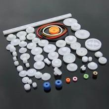 Pulley-Belt Toolkit Model Motor-Gearbox Rack Worm Plastic-Gear Toy Child DIY Craft 60pcs